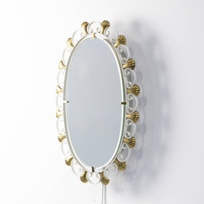 60s metal & brass mirror for Hillebrand