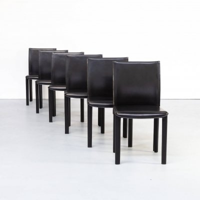 Set of 6 Italian design leather dining chairs for Arper, 1980s