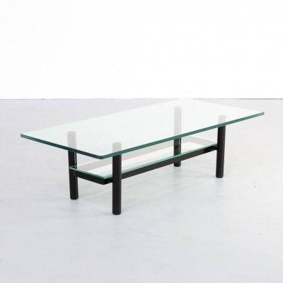 80s solid metal & glass coffee table