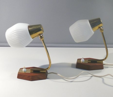 Pair of bedside table lamps, 1960s