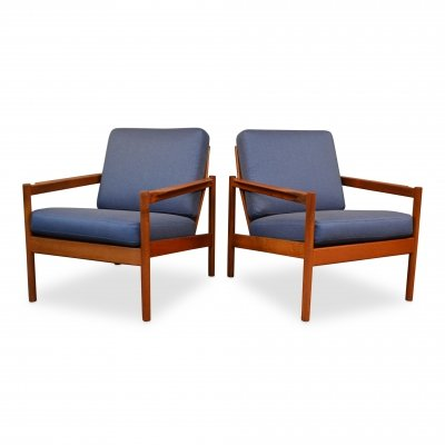 Pair of Vintage Danish design Kai Kristiansen teak lounge chairs, 1960s