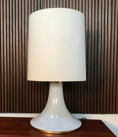 Large Table Lamp with illuminated Glass Base from Glashütte Limburg, 1960s
