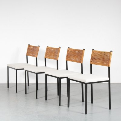 Set of 4 Gijs van der Sluis dining chairs, 1950s