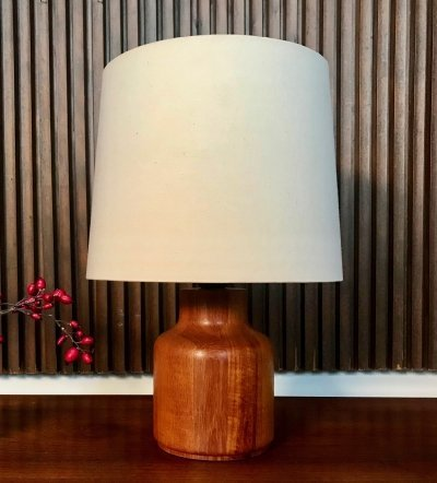 Solid Teakwood Table Lamp, Denmark 1960s
