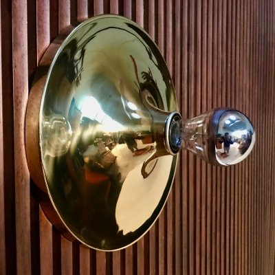 German Disc Shape Brass Metal Wall Lamp from Cosack, 1960s