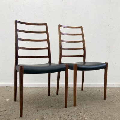 Pair of Vintage rosewood & leather Model 82 dining chairs by Niels Otto Møller, 1960s