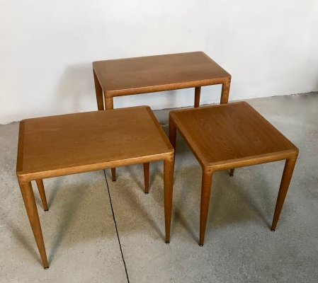 Set of 3 Danish Oak Wood Nesting Tables, 1960s