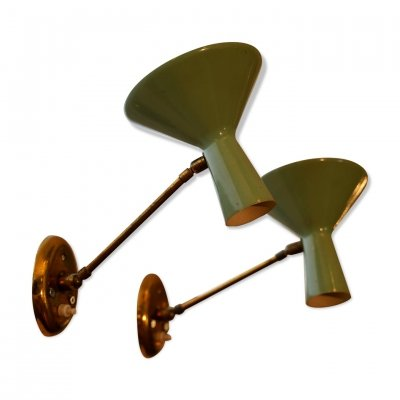 Pair of Mid-century Italian brass & green lacquer articulated sconces, 1950s