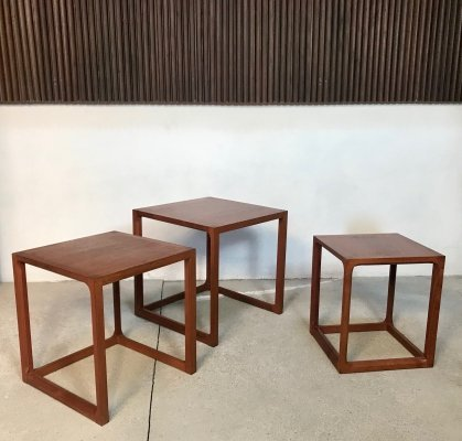 Set of 3 Danish Minimalist Cube Teak Nesting Tables by Aksel Kjersgaard, 1960s