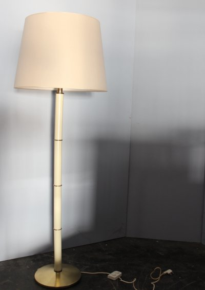 Midcentury Ivory & brass floor lamp by PAF Milano, Italy 1960s