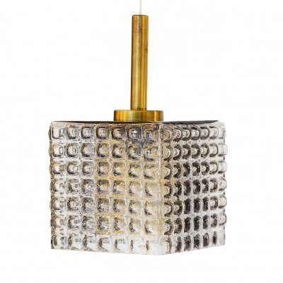 Cubic pendant light in smoked glass & brass, Sweden 1960s
