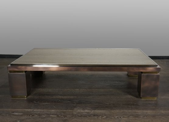 Massive Belgo Chrom Coffee Table in Travertine, Brass & Copper