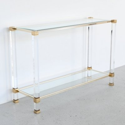 Pierre Vandel Paris lucite & brass console table, France 1970