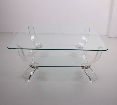 Coffee table made of plexiglass with heavy glass plate, 1970s