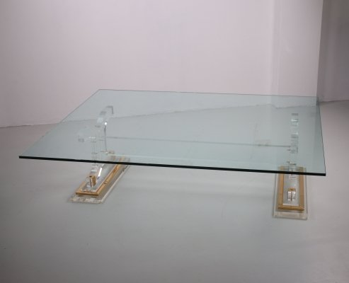 Hollywood Regency coffee table made of plexiglass with glass top, 1970s