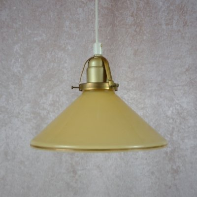 Vintage coolie with yellow glass shade