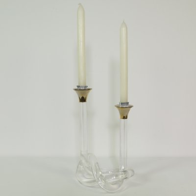 Lucite candle holder with brass ends, 1970s