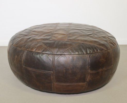 Big leather pouf, 1970s