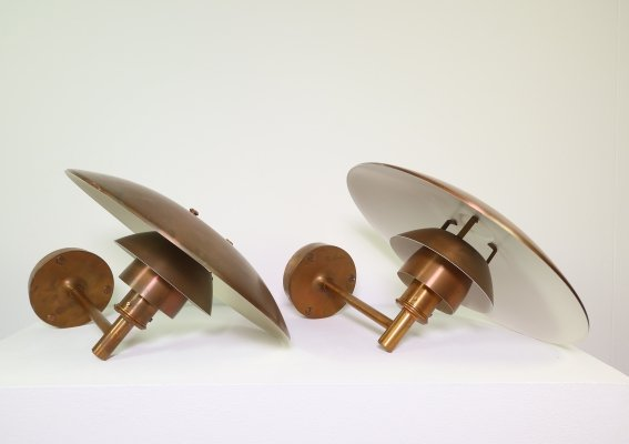 Outdoor copper PH4 5/3 wall lamps by Poul Henningsen for Louis Poulsen, 1980's