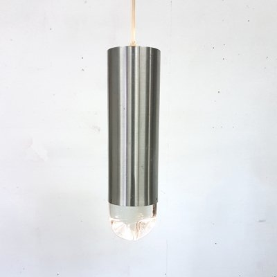 Aluminum & glass pendant bullet lamp by Raak, Netherlands 1960s