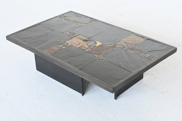 Paul Kingma black rectangular coffee table, Netherlands 1980