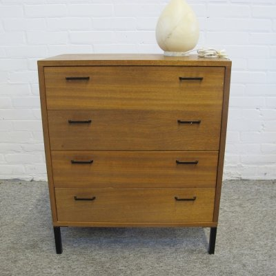 Vintage teak & metal chest of drawers, 1960s