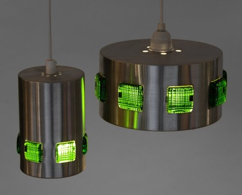 Pair of brushed aluminum pendant lights with green glass prisms, Sweden 1960s