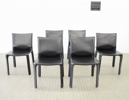 Set of 6 Cassina cab 412 dining chairs by Mario Bellini, 1990s
