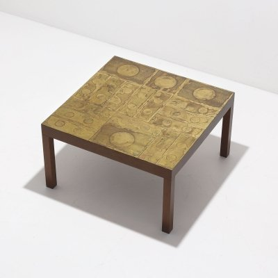 Decorative etched coffee / side table in brass, 1970s