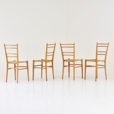 Set of 4 modernist papercord chairs, France 1950's