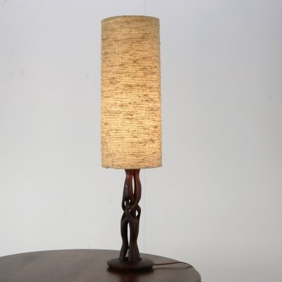 Wooden table lamp with linen hood
