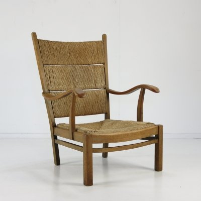 Oakwood Rush chair with rope edge seating & back, 1930s