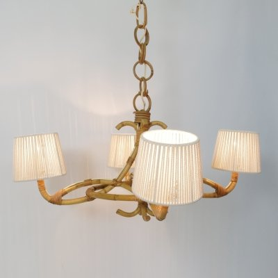 Rattan & rope pendant with 4 lights, 1960-1970