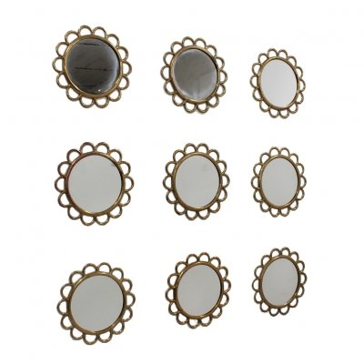 Set of 9 Modular round brass wall mirrors, 1950s