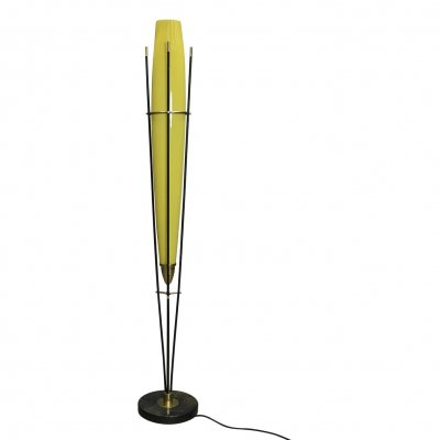Stilnovo floor lamp in yellow glass & brass, Italy circa 1950