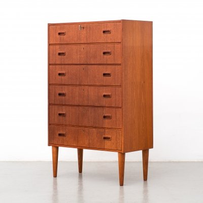 Mid Century Danish teak chest of 6 drawers, 1960s