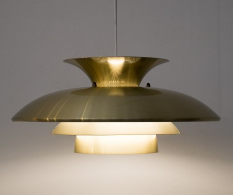 Golden pendant lamp by Top Lamper, Denmark 1980s