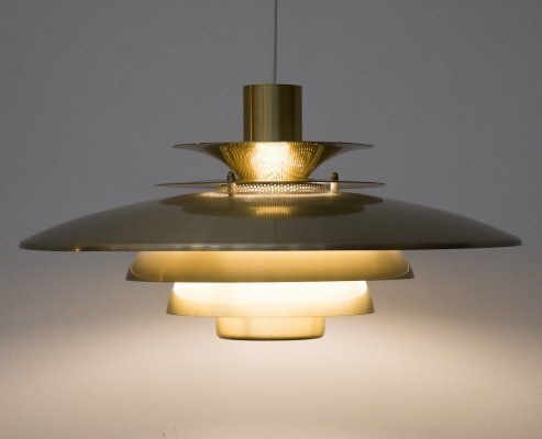 Golden 'Verona' suspension lamp by Jeka, 1980s