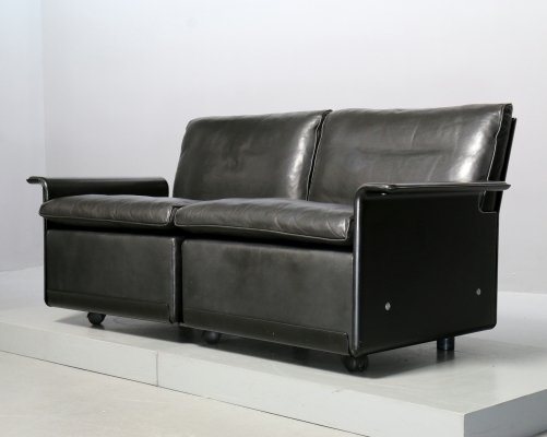 Black Leather 2-Seater-Sofa by Dieter Rams for Vitsoe, 1990s