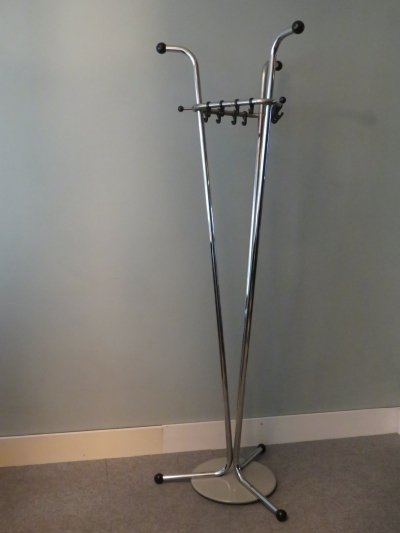 Chromed metal standing coat rack by Tubax, Belgium 1960s