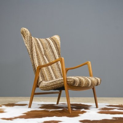 Danish lounge chair with Striped fabric, 1960s