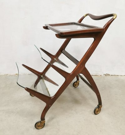 Midcentury trolley magazine rack by Cesare Lacca