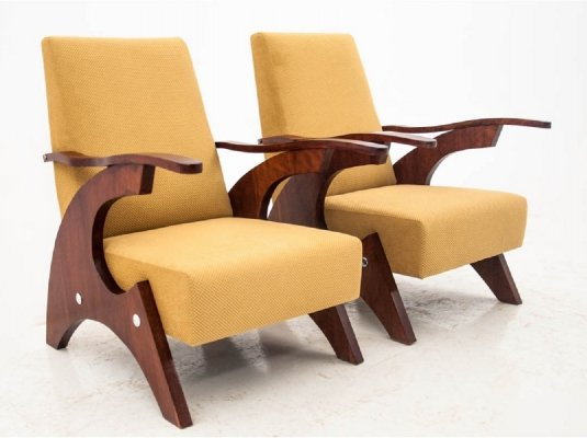 Pair of Yellow vintage armchairs, Poland 1960s