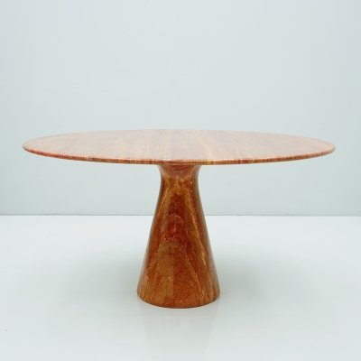 Circular Red Brown Marble Dining Table, Italy 1970
