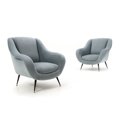 Pair of armchairs in light blue velvet, 1950s