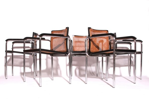 Set of 5 Vintage Cane Webbing & Chrome Tube Dining Armchairs, Italy 1970s