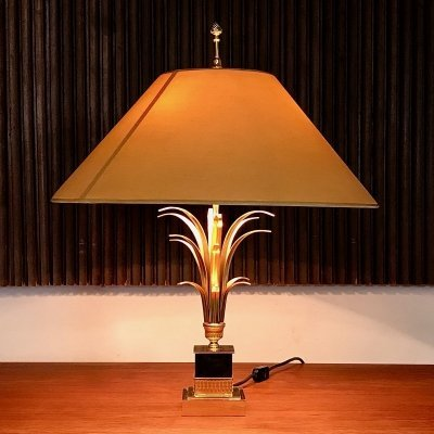 French Gilt & Brass Metal Pine-Apple Leaf Table Lamp by Boulanger, 1960s