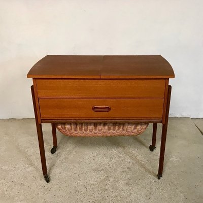 Danish Modern Teak & Wicker Sewing Table or Storage Trolley, 1960s