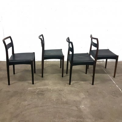 Set of 4 Rosewood & leather dining chairs, Denmark 1960s