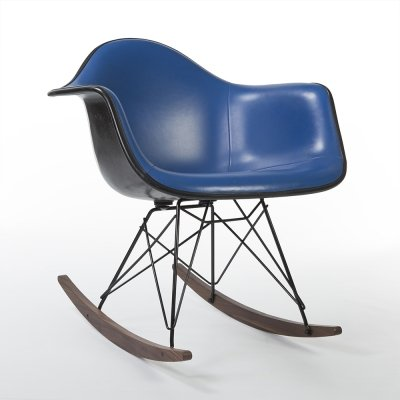 Blue Vinyl Herman Miller Original Vintage Eames Upholstered RAR Rocking Chair